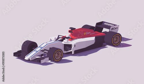 Aluminium F1 Vector low poly formula racing car
