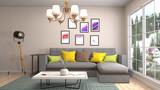 Interior living room. 3d illustration - 190875652
