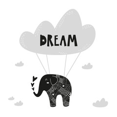 Flying elephant poster for baby room, greeting card, print on the wall, pillow, decoration kids interior, baby wear and t-shirts