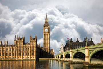 UK - Cities - Scene of Big Ben and Palace of Westminster seen from South Bank, Dramatic Sky present in the background.