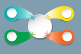 Vector of white blank circle in the centre with four color drops with blank circles and color beams. All is ready for your text. - 190881200