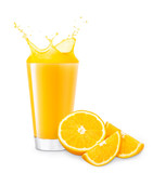 glass of splashing orange juice - 190883801