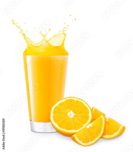 Fotobehang Sap glass of splashing orange juice