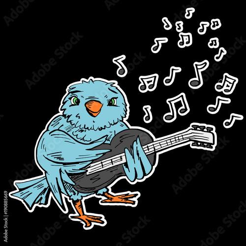 Fotobehang Muziek Blauwe vogel speelt gitaar