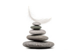 Stone balance with plume. Concept of hard and easy. - 190890284