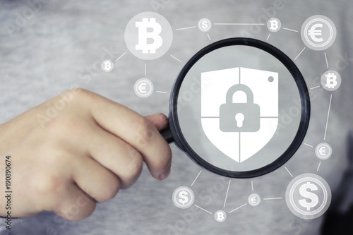 Businessman search loupe magnifier locked shield security virus cryptocurrency network