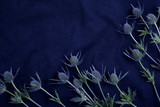 blue fabric cloth background texture with flowers. Top view