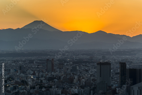 Foto op Canvas Tokio Tokyo sunset cityscape with Mountian Fuji. Japan.