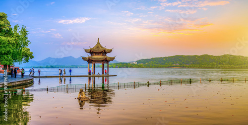 Foto op Canvas Oranje Beautiful scenery and architectural landscape in West Lake, Hangzhou