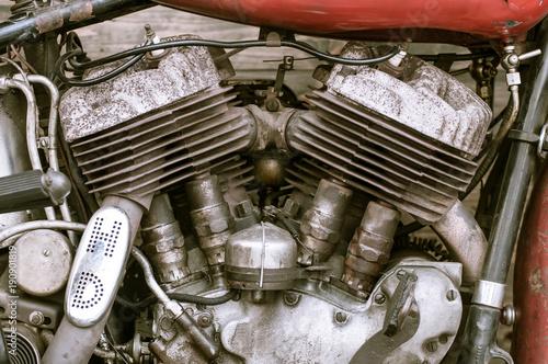 Fotobehang Fiets Old motorcycle engine.