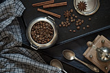 Coffee beans on a black baking sheet - 190902076