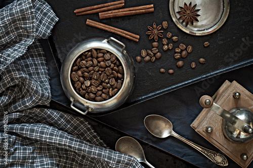 Papiers peints Cafe Coffee beans on a black baking sheet