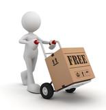 free hand truck concept  3d illustration