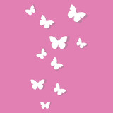 White butterflies on pink background