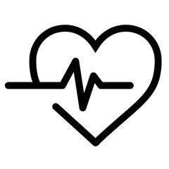 Heart beat black vector icon