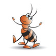 dancing ant with smile vector cartoon - 190905237