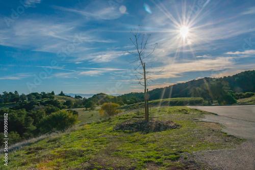 Foto op Canvas Blauwe jeans Sunburst in sky over the hills