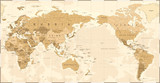 Vintage Political World Map Pacific Centered - 190911634