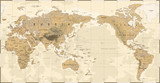 Vintage Political Physical Topographic World Map Pacific Centered - 190912615