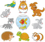 Set of pets including a cat, a dog, a parrot and other domestic animals, vector illustrations in funny cartoon style - 190913893