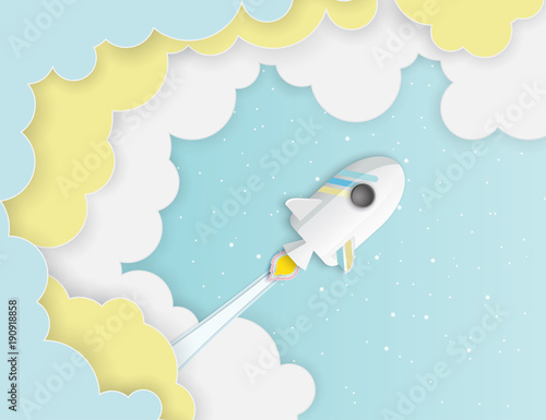 Fototapeta Paper art of space shuttle launch to the sky. Blue sky, shining stars, fluffy clouds. Rocket launch. Start up business concept and exploration idea