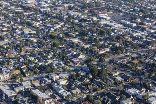 Aerial view of buildings and streets near the Rose Park and Eastside neighborhoods in Long Beach California.
