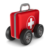 First aid kit with whells on white background. Isolated 3D illustration - 190929288