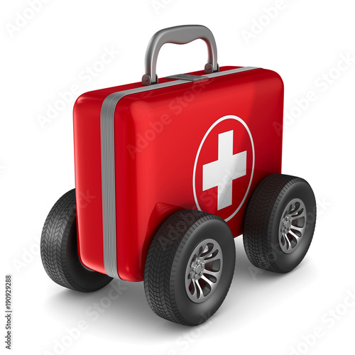 First aid kit with whells on white background. Isolated 3D illustration