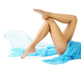 Woman Legs Beauty, Female Smooth Body, Leg Skin Care and Hair Removal concept, Girl Lying on White background - 190931403