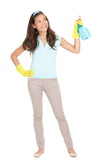 Spring cleaning. Cleaning woman pointing spray bottle to the side for copy space. Beautiful Asian girl standing in full body isolated on white background. Mixed race Caucasian / Asian Chinese woman. - 190933448