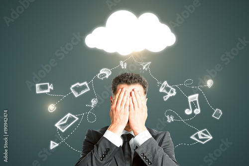 Cloud computing and data loss concept