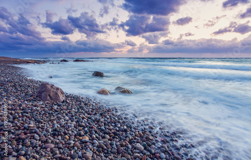 Fotobehang Cyprus Sunset on the shores of the Mediterranean Sea