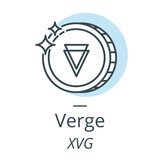 Verge cryptocurrency coin line, icon of virtual currency - 190950884