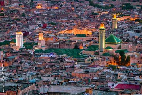 Morroco, Fez - View over the old town (medina) from the