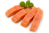 Fresh salmon fillet with basil on the white background. - 190956635