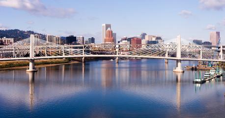 Transit Bridge Portland Oregon Downtown City Skyline Willamette River Bridges