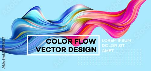Nowoczesny kolorowy plakat przepływu. Fala płynny kształt w kolorze niebieskim tle. Art Design dla twojego projektu. Ilustracji wektorowych