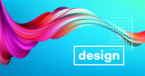 Modern colorful flow poster. Wave Liquid shape in blue color background. Art design for your design project. Vector illustration - 190964818