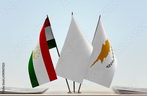 Foto op Canvas Cyprus Flags of Tajikistan and Cyprus with a white flag in the middle