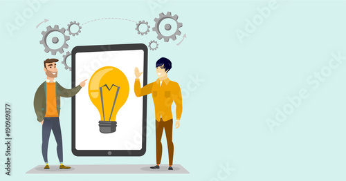 Caucasian white and asian business men pointing at idea light bulb on the tablet during brainstorming session. Brainstorming and creative idea concept. Vector cartoon illustration. Horizontal layout.