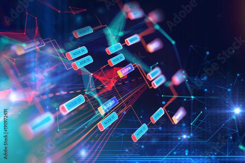 Fotobehang Hoogte schaal Block chain network concept on technology background