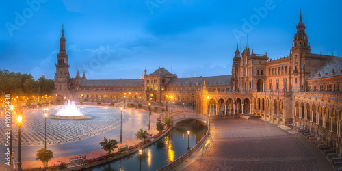 View of Spain Square on sunset, Seville