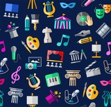 Culture and art, seamless background, color, blue, vector. Leisure and cultural centres. Cultural events and the attributes of art. Colored icons on a dark blue field. Vector picture.   - 190985017