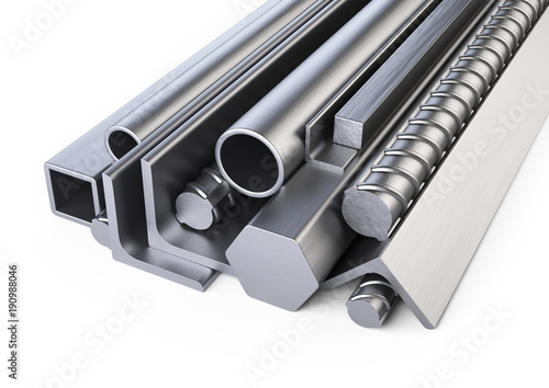 Steel profiles and pipes heap. Warehouse for construction materials.