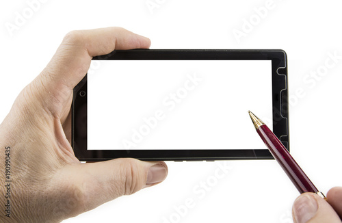 Poster Smartphone in hand with pen and blank display.