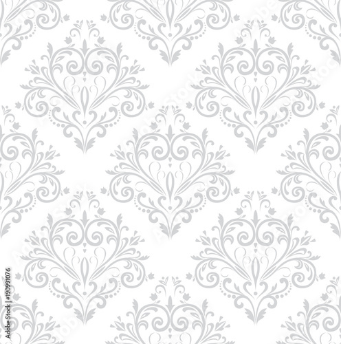 Wallpaper in the style of Baroque. A seamless vector background. Gray and white texture. Floral ornament. Graphic vector pattern - 190991076