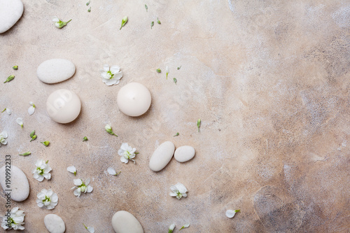 Fotobehang Spa Natural beauty, aromatherapy and spa stone background decorated with flowers. Top view. Flat lay.