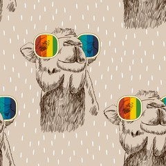 Vector sketch of camel with glasses. Retro illustration