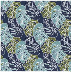 pattern with three shades of leaves