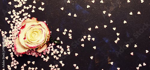 Foto Murales Festive background for Valentines Day, white rose and sweet pink hearts, top view